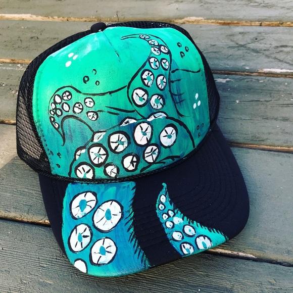 134a91501f9 Handpainted hat custom SnapBack octopus hat